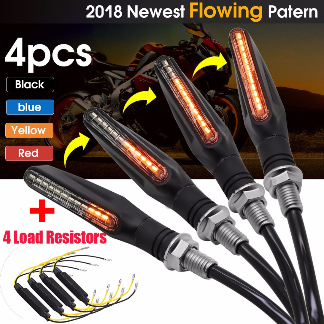 New Arrival 4pcs 12V Motorcycle Sequential Flowing Water Light LED Turn Signal Indicator Light + Load Resistors puma flowing