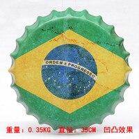 Brazylia Flaga Kapsel piwa Kapsel Ściany Ściany Malowanie Rocznika Metal Tablica Lambretta Plakietka Emaliowana Bar Pub Home Party Decor 35 CM