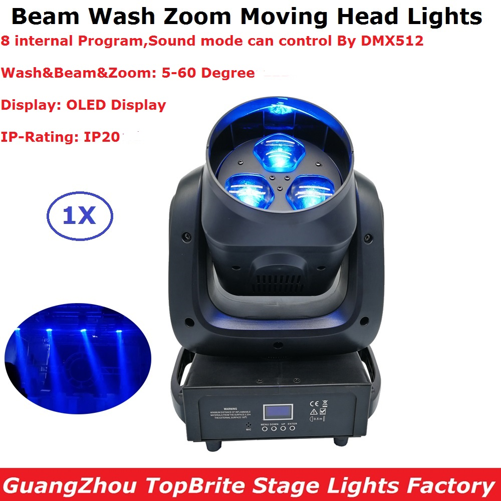 Free Shipping 1 Units 3X40W Beam Wash 2IN1 LED Moving Head Stage Lights 5-60 Degree Zoom Angle OLED Display 10/17 DMX Channels