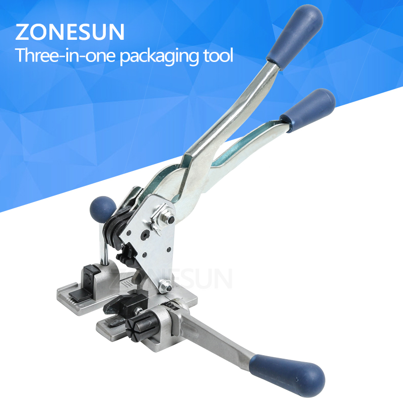 ZONESUN Manual strapping machine packaging tool multifunction plastic 13mm PP packing strap belt tensioner cutter hand tool set цена