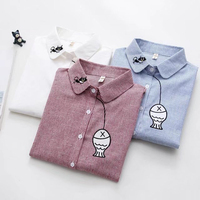 Spring Autumn Sweet Kitten Fishing Embroidery Shirt Women Long Sleeve Striped Shirts Turn Down Collar Female