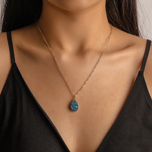 Natural stone pendant beauty drop crystal cluster necklace ladies jewe