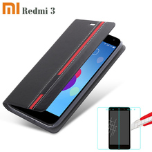 New High quality for xiaomi redmi 3 Case Ultra thin Leather flip cover back case + tempered glass Film