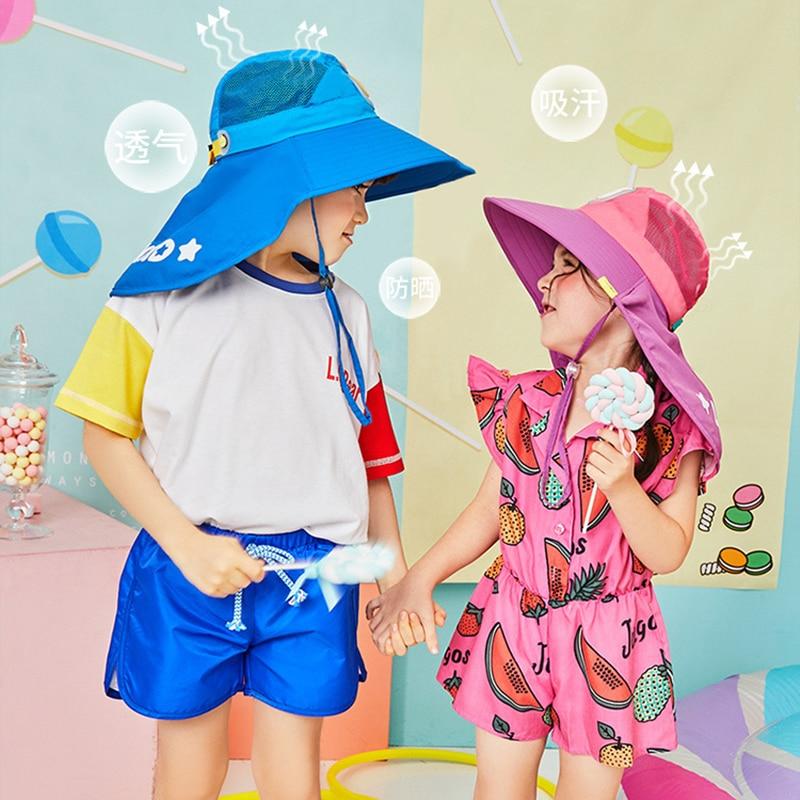 Image 2 - Kocotree Wide Brim Children Sun Hat  Kids Bucket Cap Summer Beach Girls Travel Outdoor New Fashion Cute Casual Sun HatsMens Sun Hats   -