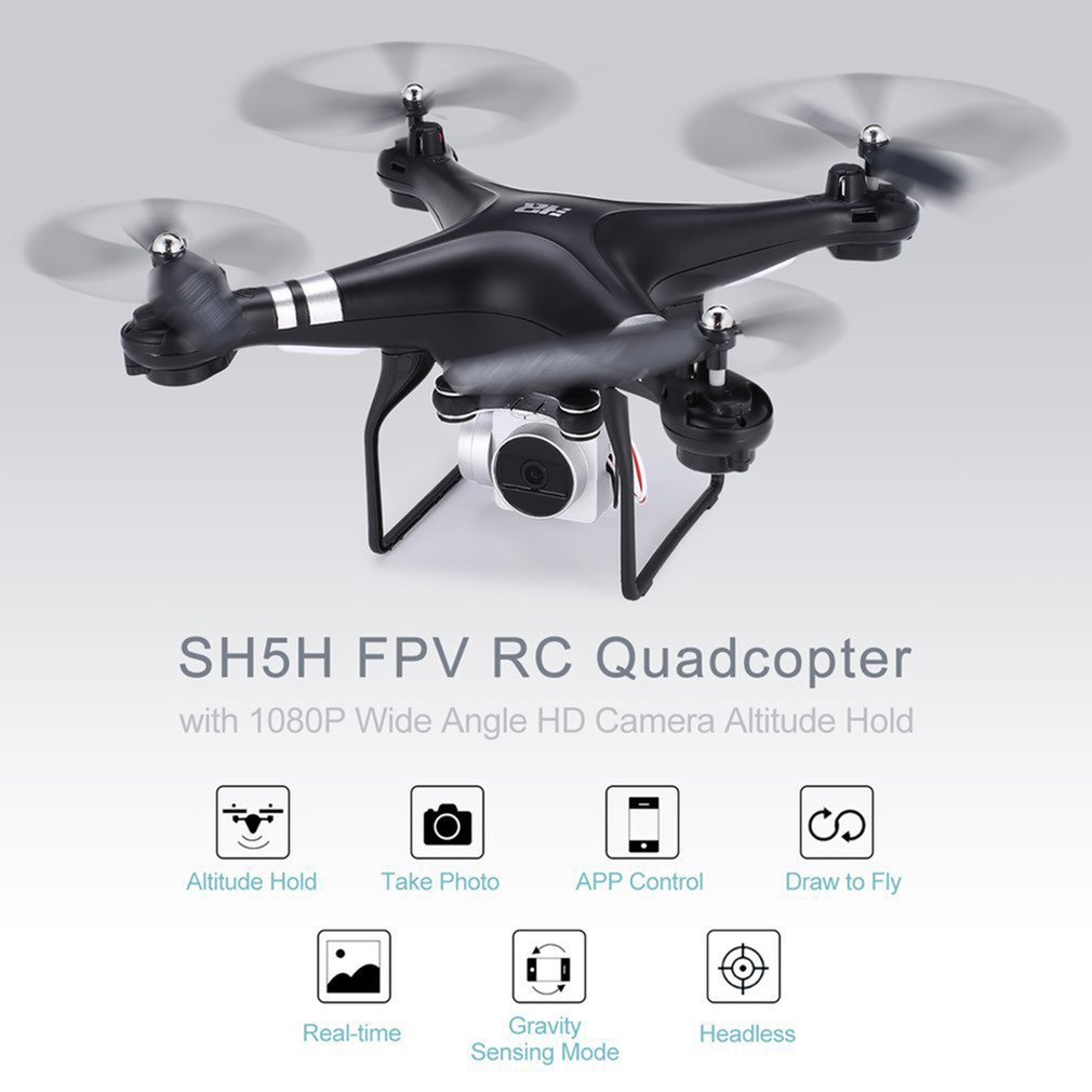 SH5H 2.4G FPV RC Drone 720/1080p Wide Angle HD Wifi Camera Headless Mode Gravity Sense Ret