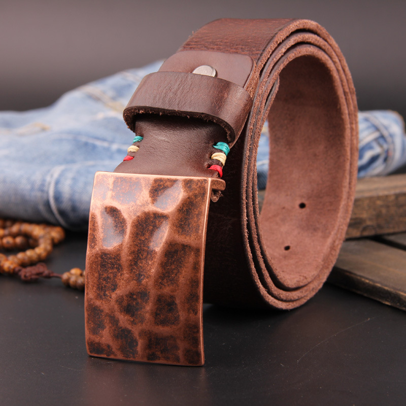 Fashion Ancient Smooth Buckle Homme Cowhide Genuine Leather Belt Designer Belts Men High Quality