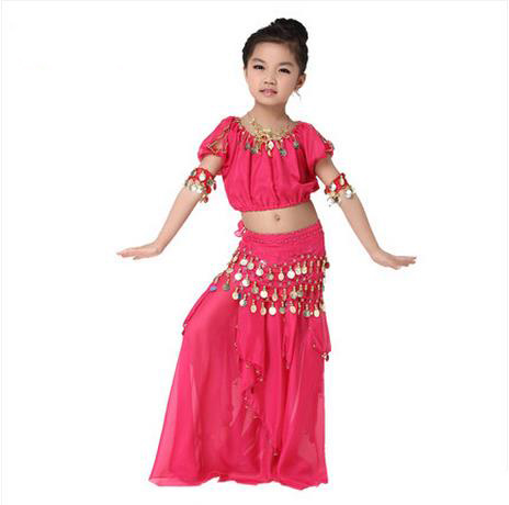 New Girls Belly Dance Costumes Chiffon Short Sleeves Top+skirt+belt 3pcs Belly Dance Set For Girls Belly Dance Suits