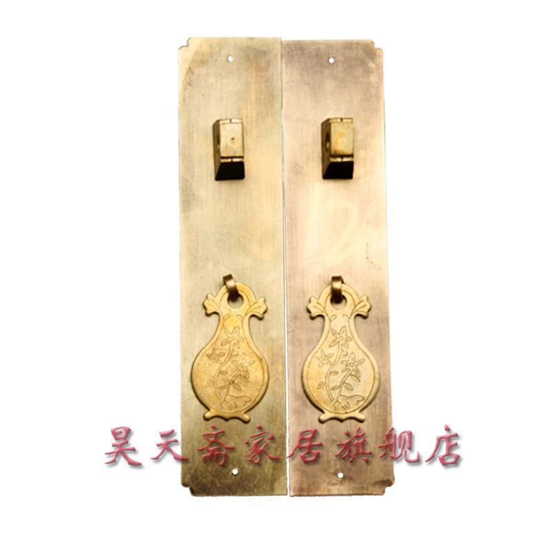 ФОТО [Haotian vegetarian] Chinese home copper fittings / pure hand-carved / wardrobe handle / Tongmen article HTC-057