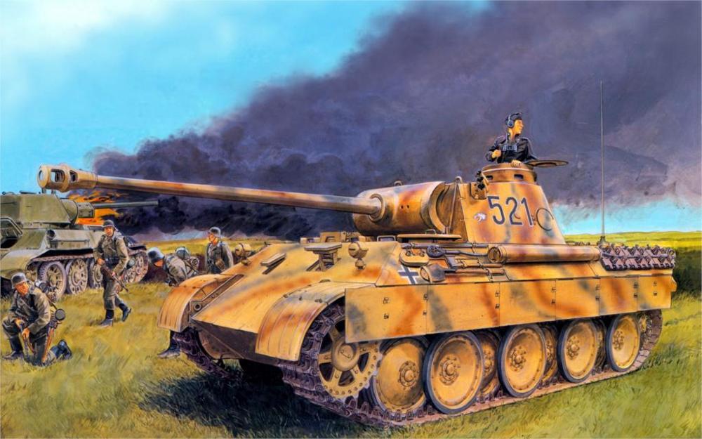 2016 Картины Книги по искусству секс Пособия по немецкому языку солдаты бак пантера panzerkampfwagen V огонь дым 4 размера украшения дома Холст плакат