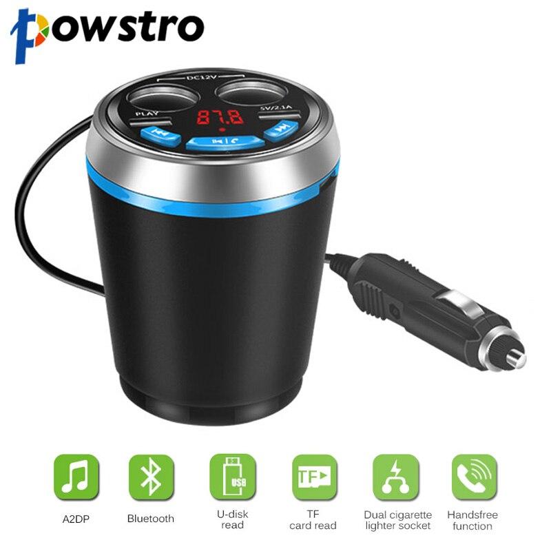 Powstro Dual USB Charger Adapter Bluetooth Car Cup Holder Multifunction Kit FM Transmitter Cigarette Lighter Socket