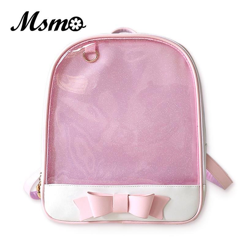 MSMO Cute Clear Transparent Bow Backpack Ita Bag Harajuku School Bags For  Teenage Girls Rucksack Kids df39ba2bd1b4