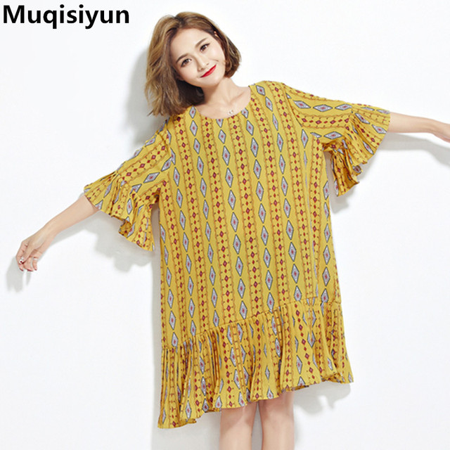 Muqisiyun Plus size Women Summer Bohemian Style Beautiful Short Sleeves  Female Loose Dresses Pleated Hem Dress T5178-in Dresses from Women\'s  Clothing ...