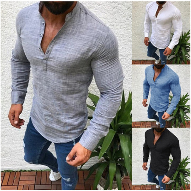 Men S Solid Color Shirt Long Sleeve Stand Collar Half Open Button