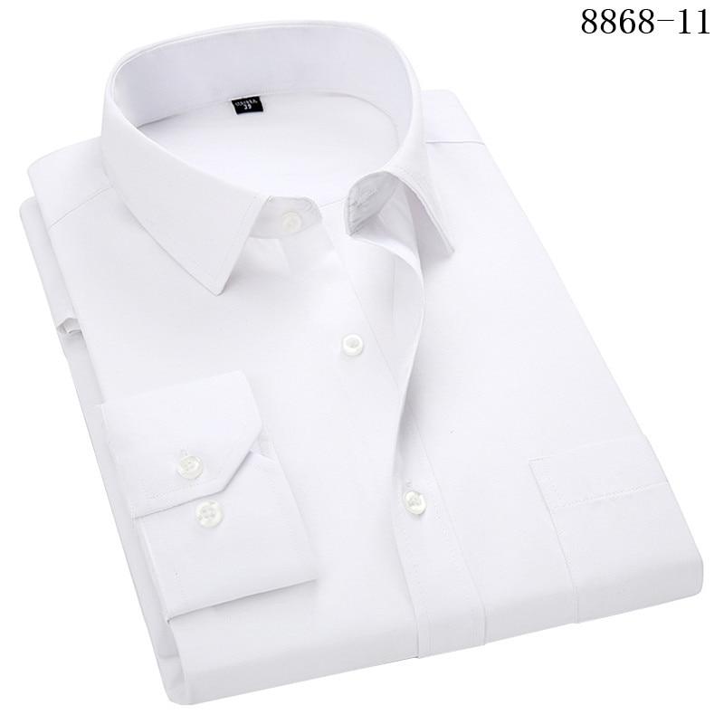 4XL 5XL 6XL 7XL 8XL Large Size Men's Business Casual Long Sleeved Shirt White Blue Black Smart Male Social Dress Shirt Plus 10