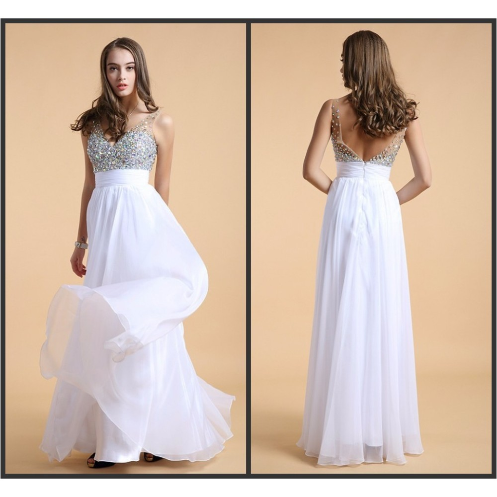 Crystals Deep V Neck Chiffon Dresses Cheap White Gown