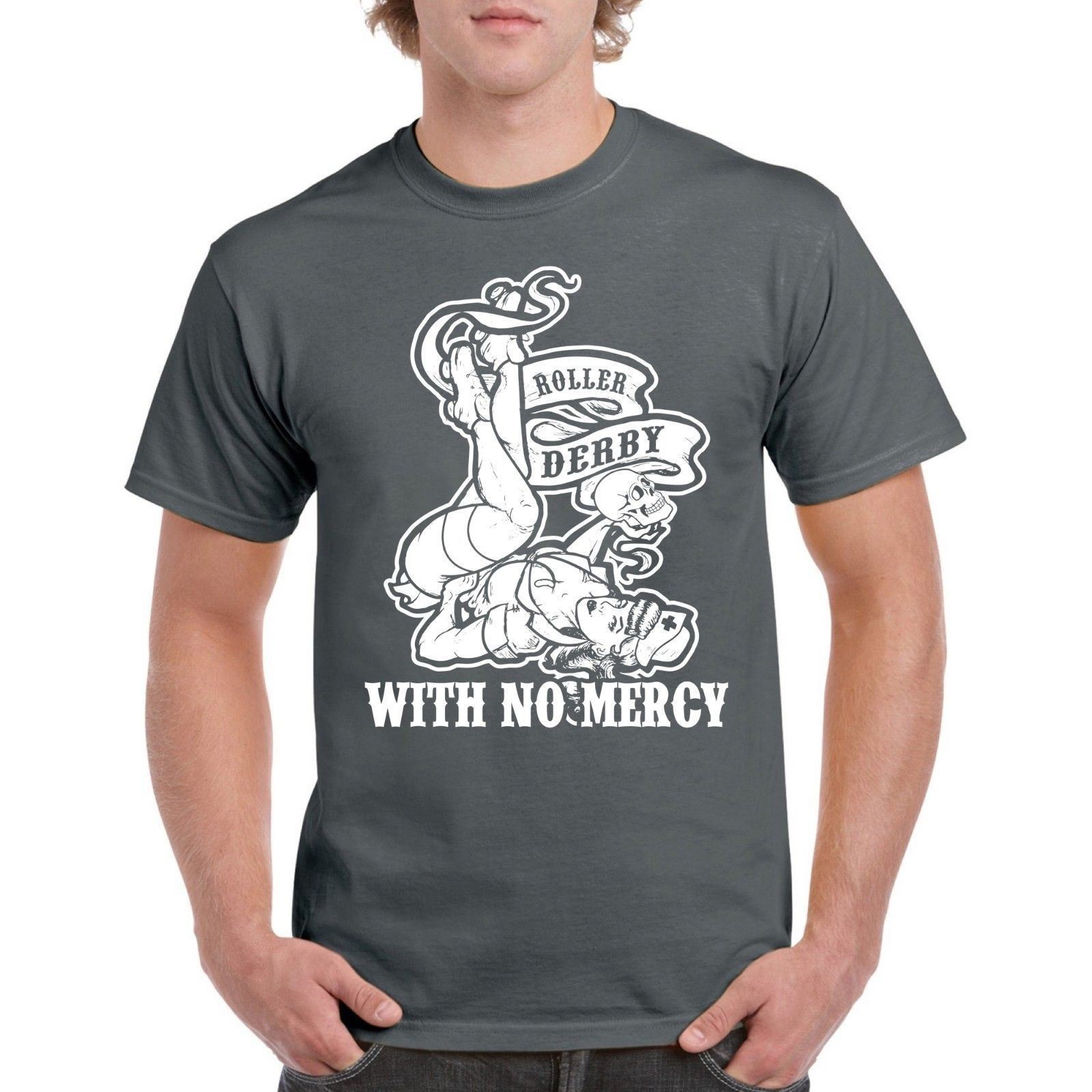 Roller Derby With No Mercy Mens Tee Girl Design 100% Cotton T-shirt