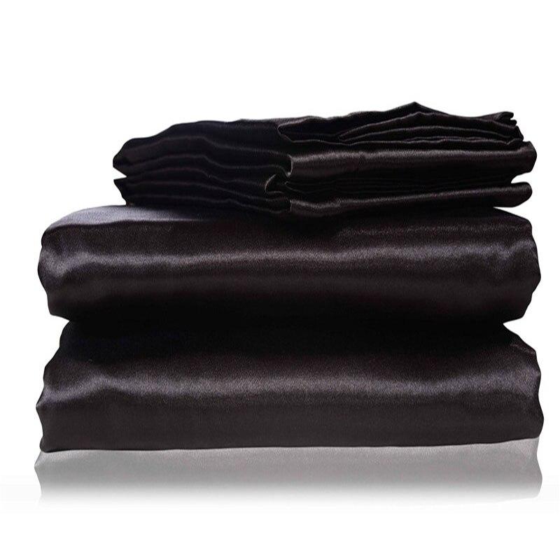 Juwenin Home silk Flat Sheet Fitted Sheet Pillow Cases Twin Full Queen King Sizes Nestl Bedding Set with Deep Pocket Black15