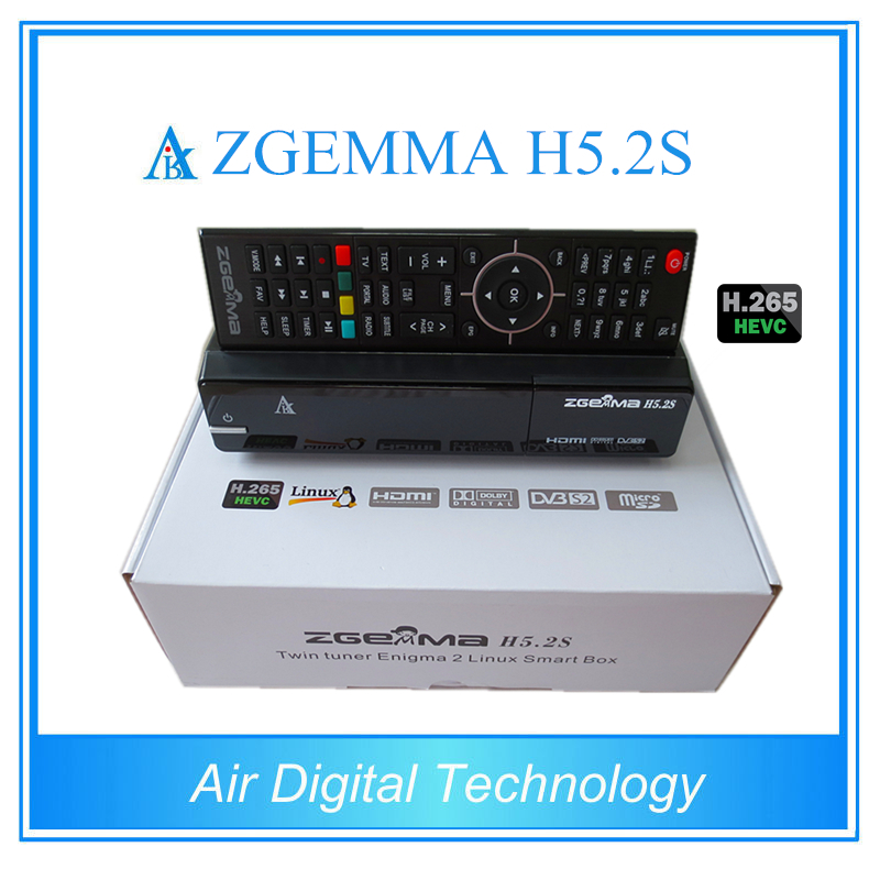 2pcs/lot New H.265 Moduel ZGEMMA H5.2S BCM73625 Dual Core DVB-S2 + DVB-S2 Twin Tuners Satellite Receiver with HEVC / H.265 [genuine] freesat v8 golden dvb s2 t2 c satellite tv combo receiver support powervu biss key cccamd newcamd n usb wifi optional