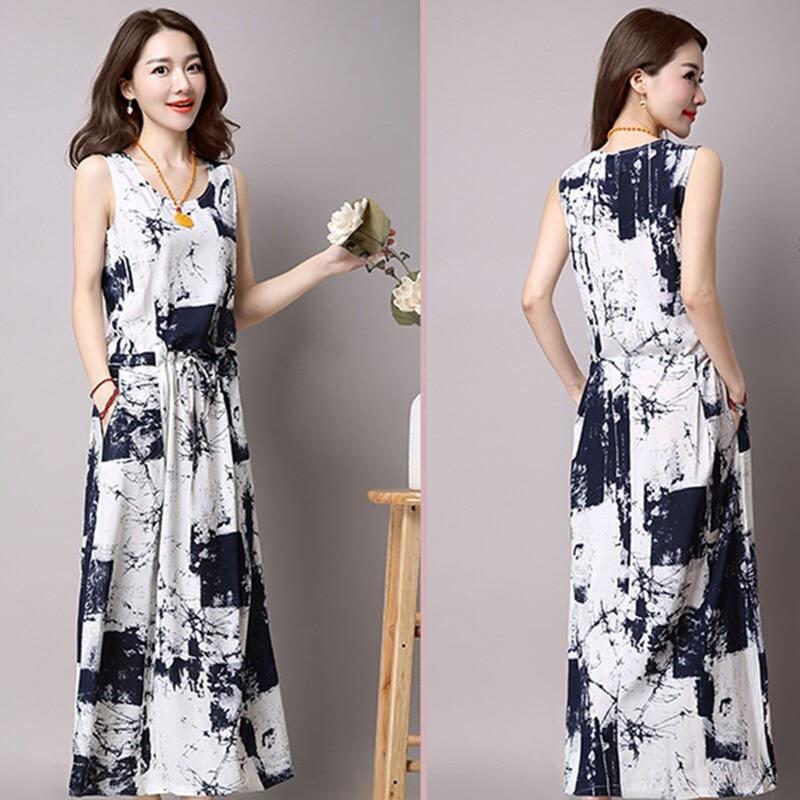Uego 2018 Fashion Long Sleeve Women Spring Dress Cotton Linen Print