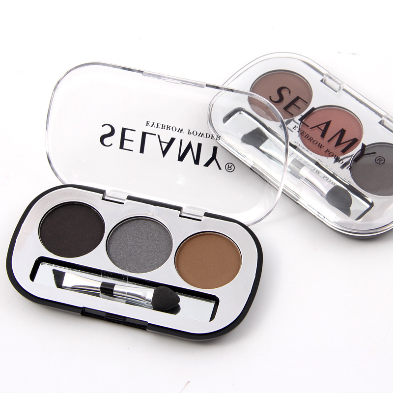 3 Colors Waterproof Pigments Eyes Makeup Eyebrow Powder Palette with Brush Black Brown Minerals Eye Brow Tattoo Cosmetic 7