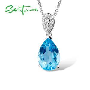Image 3 - Santuzza Sieraden Set Voor Vrouwen Magic Sky Blue Crystal Cz Stenen Drop Earring Hanger Set 925 Sterling Zilveren Sieraden