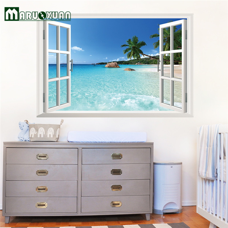 Buy Blue Sky Beach Coconut Tree Tropic Scenery 3D Wall Sticker Seascape Removable Fake Window Wall Poster Decorative Poster for $5.03 in AliExpress store