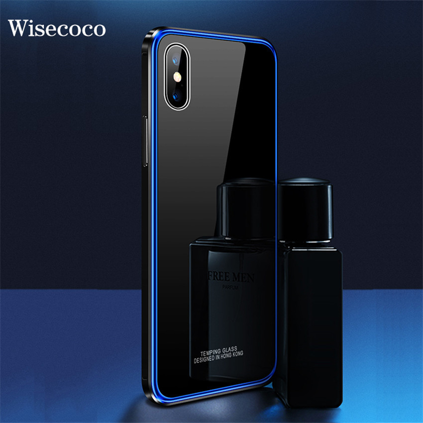 Metal Bumper Case for Iphone X Xs Luxury Plating Iohone X Frame Hard Clear Tempered Glass Mirror 360 Thin Back Cover for Iphonex iPhone XS