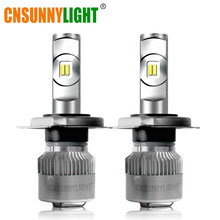 CNSUNNYLIGHT R2 LED Car Headlight H7 H4 H11/H8 H1 9005/HB3 9006/HB4 Real 50W 7600Lm/Pair Turbo Fan Bulbs CSP Headlamp 12V Lights(China)