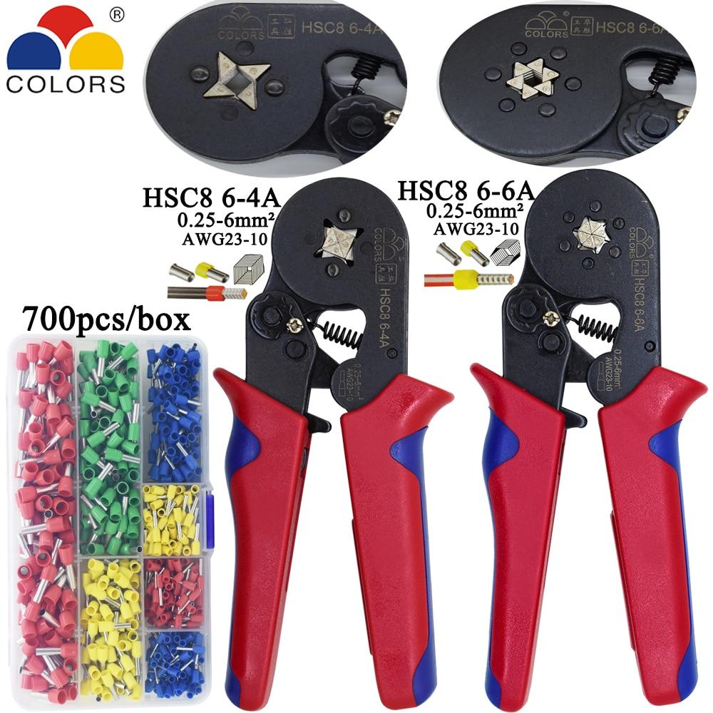 купить HSC8 6-4/10S crimping pliers 0.25-10mm2 23-7AWG HSC8 6-6 for tube terminal box brand mini type round nose european pliers tools по цене 887.37 рублей
