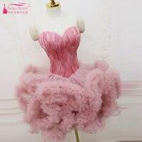 Платье пачка с перьями для выпускного вечера розовое/белое/черное роскошное бальное коктейльное платье принцессы Клубная одежда для вечер