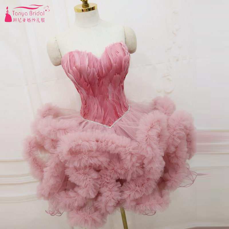 TuTu Feather Homecoming Dresses Pink/White/Black Luxury Princess Ball Gown cocktail Dress Club Party Wear ZHM019