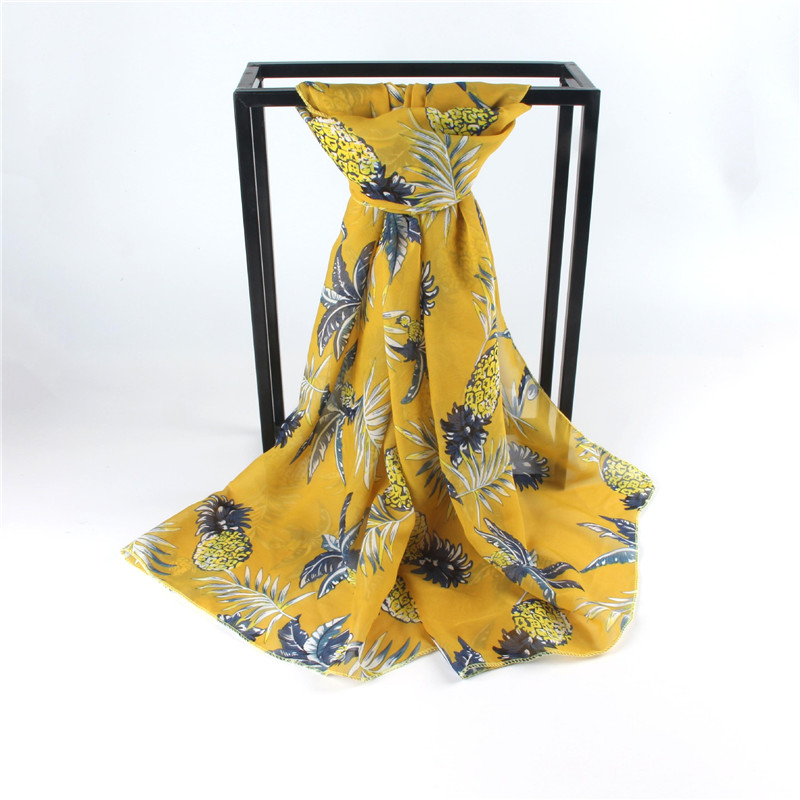 Luxury Fashion Long Chiffon Scarf Pineapple Printed Scarves 3 Colors Shawl 160cm Chiffon Soft Big Shawl Women's Scarf
