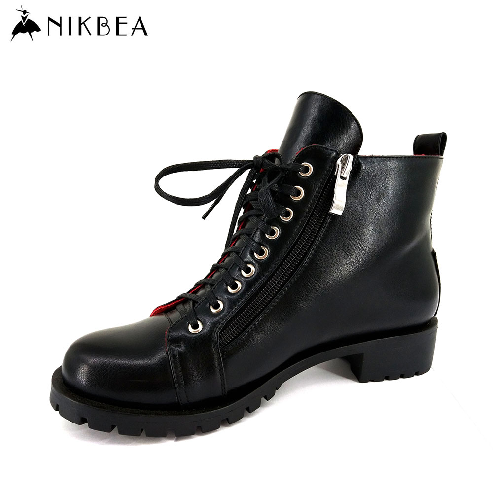 Nikbea Black Ankle Boots for Women Punk Lace Up Boots Flat Handmade Martin Boots Fashion 2016 Autumn Winter Shoes Botas Mujer Pu nikbea brown ankle boots for women vintage flat boots 2016 winter boots handmade autumn shoes pu botas feminina outono inverno