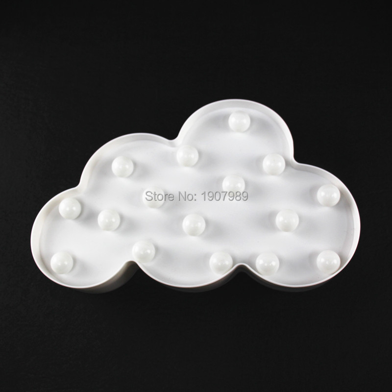 Creative LED 3D Cloud Night Lamp Battery Powered White Cloud Letter - Night Lights - Photo 6