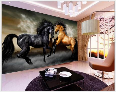 Купить с кэшбэком Custom photo wallpaper 3d murals wallpapers cartoon animals large murals horse pentium TV setting wall papers for living room