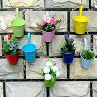 Metal Bucket Flower Hanging Pot Balcony Garden Pots Plant Flower Holders Wall Hanging Metal Bucket Flowers Holder