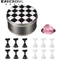 Chess Board Magnetic Nail Tip Finger Crystal Stand 12 Pcs Set Luxury Salon Support Nail Display Holder Manicure Accessories