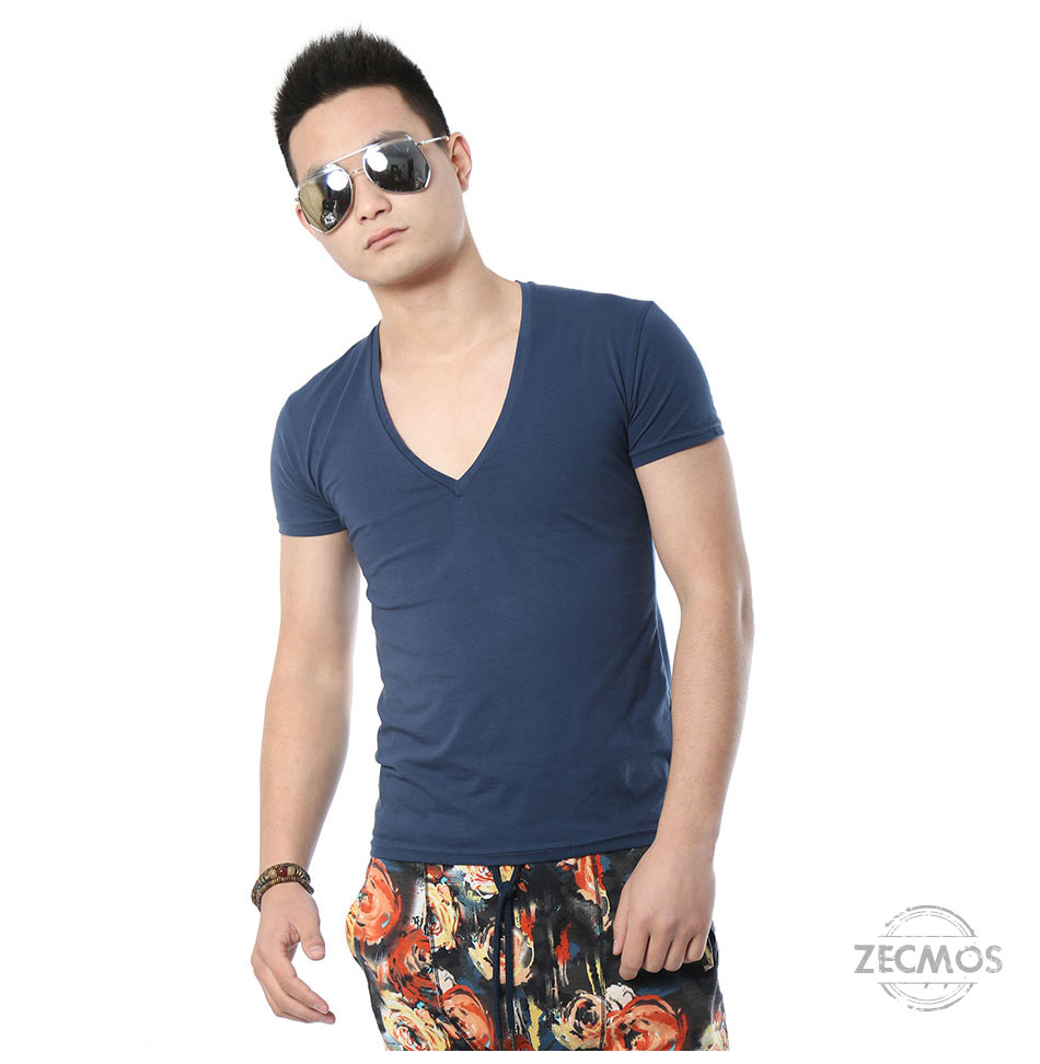 Zecmos Deep V Neck Sexy Men T-Shirt Vintage Short Sleeve Solid Color Muscle Fit T Shirt Men Top Tees Fashion 44