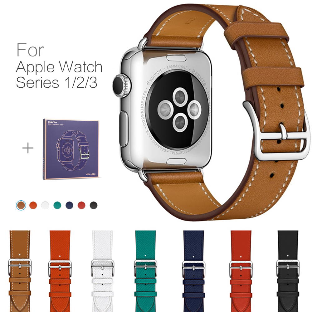 Leather Band for Apple Watch Loop Band 42mm 38mm Luxury Fashion Genuine Leather Bracelet Belt Strap for Iwatch Band Series 1 2 3