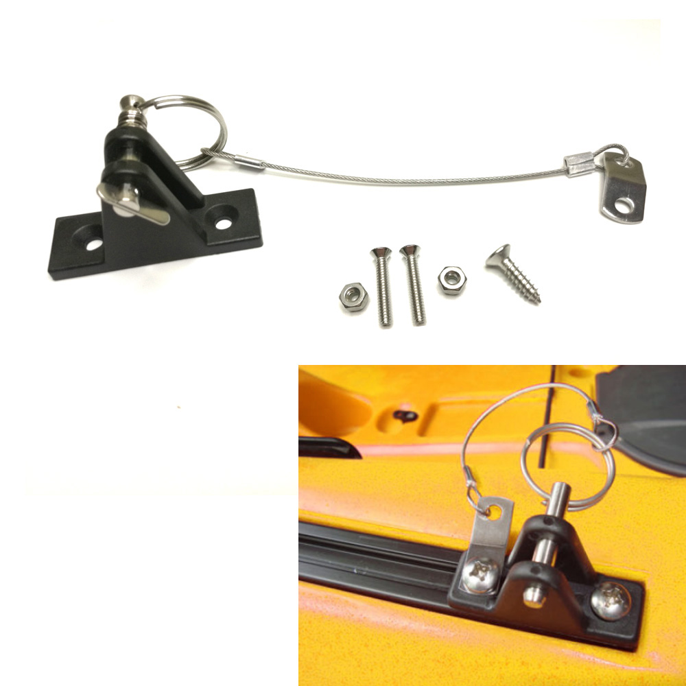 Kayak Anchor Quick Release System Nylon Deck Hinge with Stainless Pin Lanyard for Kayak Slide Rail Anchor Marine Boat Bimini Top