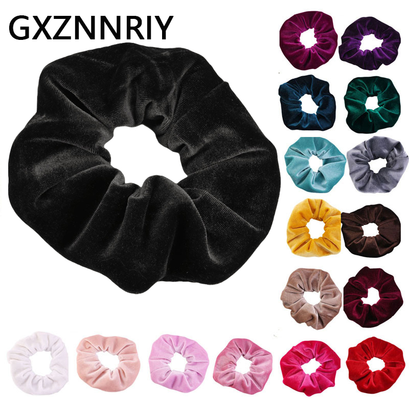 Women Velvet Scrunchies Hair Accessories Black Elastic Hair Bands for Girls Scrunchie Fashion Ladies Headdress Female   Headwear