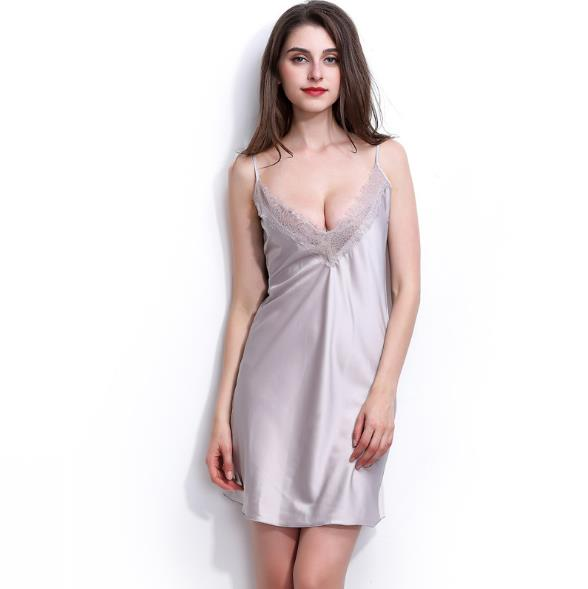 4a840e212e Summer Sleep Dress Sexy Satin Sleepwear Silk Nightgown Women Nightdress  Sexy Lingerie Plus Size S M L XL XXL Female Nightie-in Nightgowns    Sleepshirts from ...