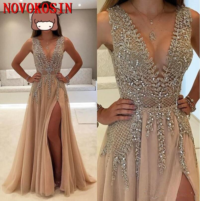 2019 Vintage Deep V-Neck Crystal Beading Backless Formal Guest   Dress   Chiffon Elegant Front Split Full Length Party   Prom     Dress