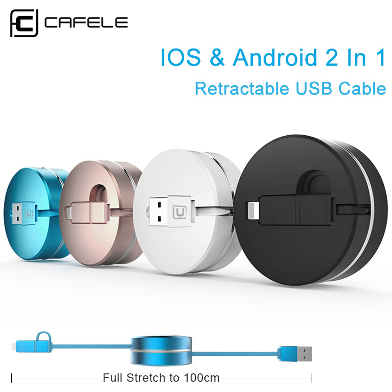 CAFELE Luxury 2 in 1 Retractable Cable for Micro font b Android b font Samsung S7