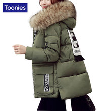 Toonies Plus Size 5XL Winter Parkas Woman Overcoat 2016 Trend Chic Style Jackets Cotton Padded Fur Collar Letter Patchwork Coat