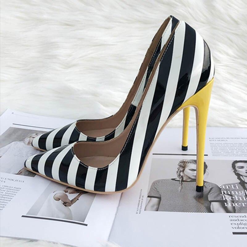 10eb674ffe Aliexpress.com : Buy Women pumps white black yellow strip sexy high heels  women shoes 12 cm stilettos QP025 ROVICIYA from Reliable Women's Pumps  suppliers ...