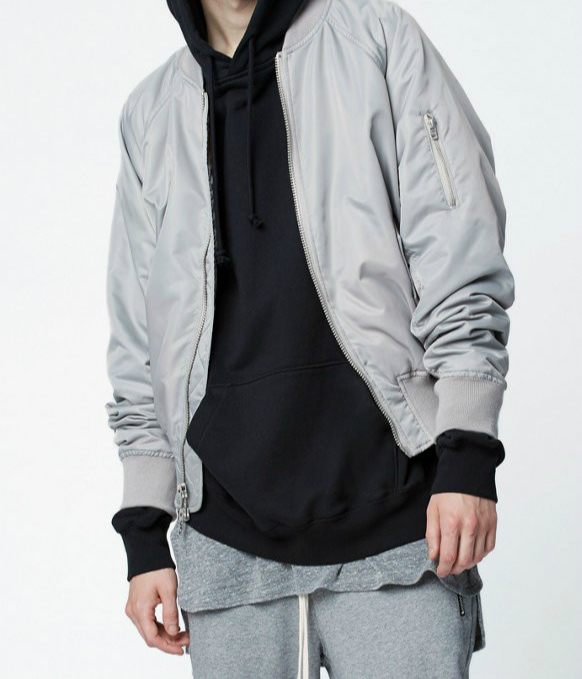 Top Quality Zipped Back Pocket <font><b>Bomber</b></font> <font><b>Jacket</b></font> Mens Military Style Orange/Silver Grey Quilted Pilot Coats Free Shipping