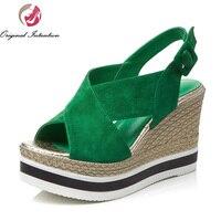 New Elegant Women Sandals 2017 Nice Open Toe Wegdges Sandals Gorgeous Black Green Shoes Woman US