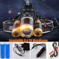 12000LM LED 3xT6 Headlamp Headlight Head Lamp Lighting Light Flashlight Torch Lantern Fishing 18650 Battery Car