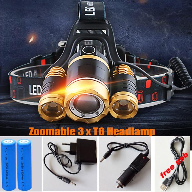 13000LM FÜHRTE 3xT6 Scheinwerfer-scheinwerfer Kopf Lampe beleuchtung Licht Taschenlampe Laterne Angeln + 18650 Batterie + Auto USB AC ladegerät